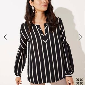 Loft Black and White Striped Blouse